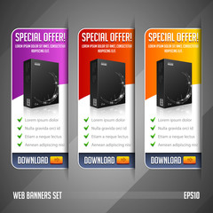 Modern Special Offer Web Banner Set Vector Colored: Red, Yellow, Orange, Violet, Purple. Website Showing Product Box.