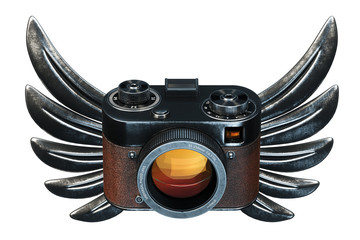 Vintage film photo camera with metal Wings on black background.