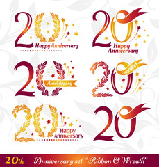 20th anniversary emblems set. Celebration icons with numbers ribbons, wreath and fireworks