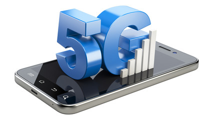 5G sign on smart phone screen. High speed mobile web technology.