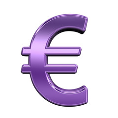 Euro sign from shiny purple alphabet set, isolated on white. Computer generated 3D photo rendering.