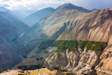 High mountain village in Himalayas