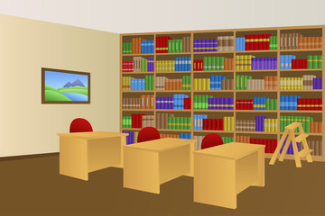 Library room beige interior table chair illustration vector