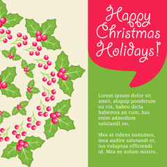 Mistletoe christmas greeting card.