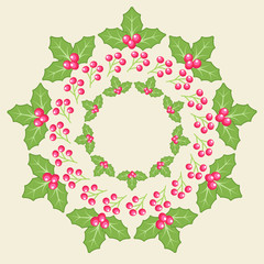 Mistletoe wreath illustration card