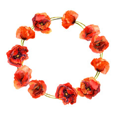 Vintage floral circle garland with colorful red poppy flowers. Watercolor painted retro design