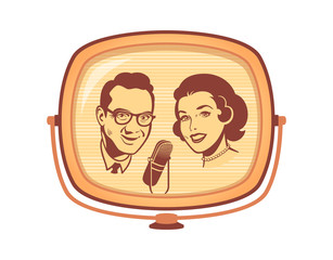 Retro TV talk show on screen