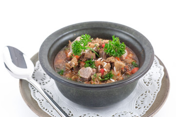Beef stew with celery in a stone bowl isolated on white