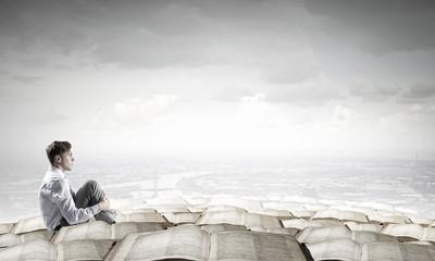 Depressed businessman in isolation