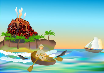 Tropical landscape with a volcano and traveler in a rowboat