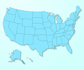 USA blue map on degraded background vector