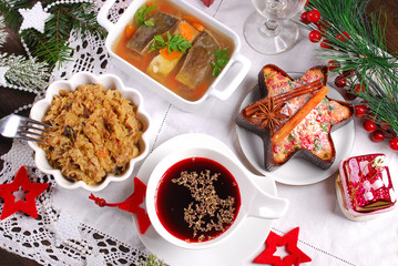 some dishes for traditional polish christmas eve supper