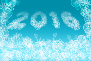 2016 image shaped from little snowflakes on light blue background