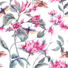 Watercolor Seamless Background with Pink Flowers and Beetles