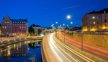 Highway by night in Stockholm, Sweden