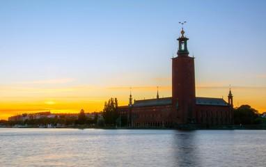 Stockholm City Hall at sunset, Sweden