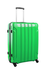 Green travel bag isolated on white background.