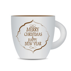 Abstract Beauty Christmas and New Year Cofee Cup. Vector Illustr