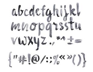 Watercolor aquarelle font type handwritten hand drawn doodle abc alphabet lowercase letters