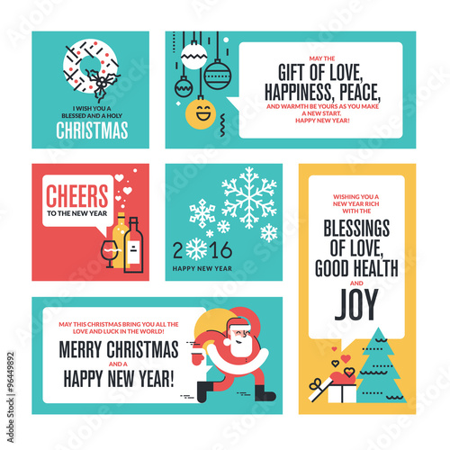 Christmas and new years collection flat line design vector christmas and new years collection flat line design vector illustrations for greeting cards website m4hsunfo