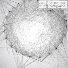 Abstract 3d rendering of chaotic structure. Graphic geometric modern, design style illustration background with futuristic shape in empty space. Mesh.