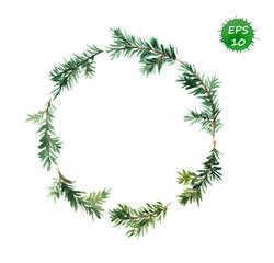 Spruce wreath. Watercolor vector