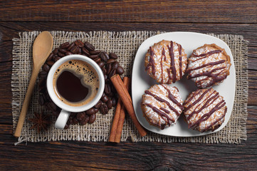 Coffee with tasty cookies
