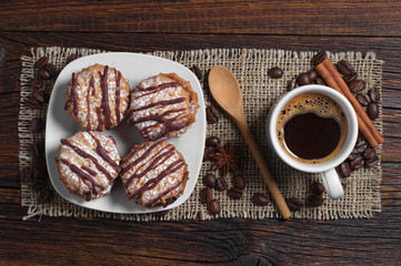 Delicious cookies and coffee cup