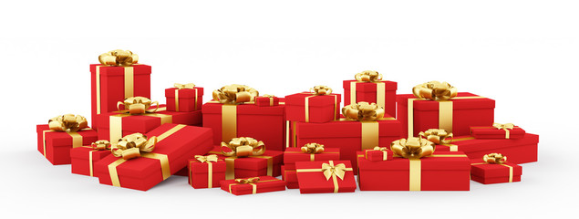 Red gift boxes, presents isolated 3d rendering