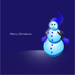 Christmas snowman on blue