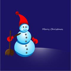 Christmas snowman with broom