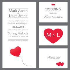 Set of wedding cards or invitations