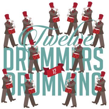 Twelve drummers drumming the Twelve days of Christmas EPS 10 vector illustration