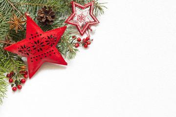 Fototapeta Świąteczna dekoracja na białej teksturze obraz