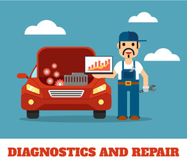 Auto mechanic service. Vector flat illustration