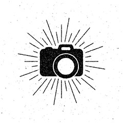 vintage camera label with light rays.