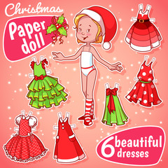 Christmas paper doll with six dresses.