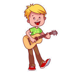 Cartoon boy with a guitar in his hands