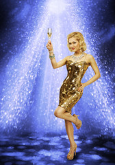 Photo sur Aluminium Mermaid Woman Dancing Party Champagne Glass, Girl Dance Night Club