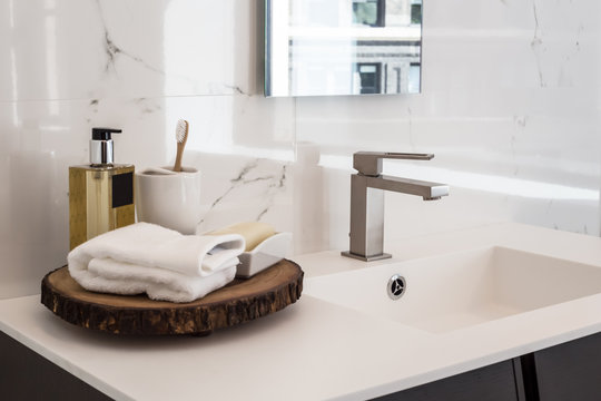 Clean contemporary bathroom sink