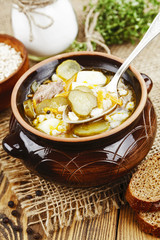 Soup with pickles and barley