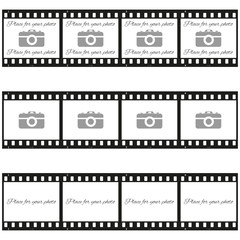 """Set of three """"place for your photo"""" templates with photo camera in filmstrip"""