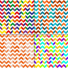 Set of seamless pattern with zig zag lines