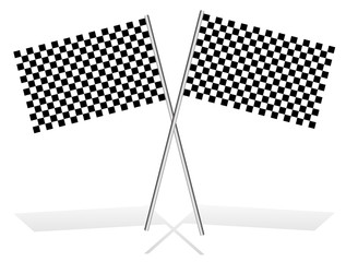Crossed checkered racing flags on white, with shadow