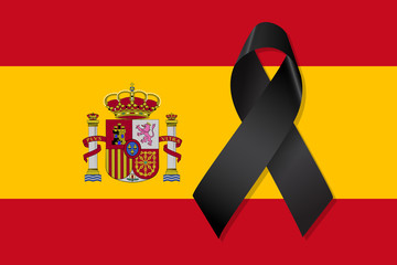 Spain flag with black ribbon vector