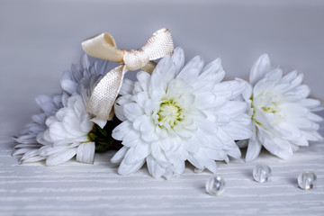 white flowers and bows