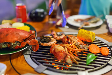 Seafood at grill