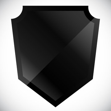 Blank black shield shape with gloss effect
