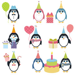 Set of penguins in winter