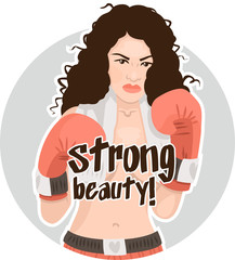 beautiful naked girl with boxing gloves Sticker